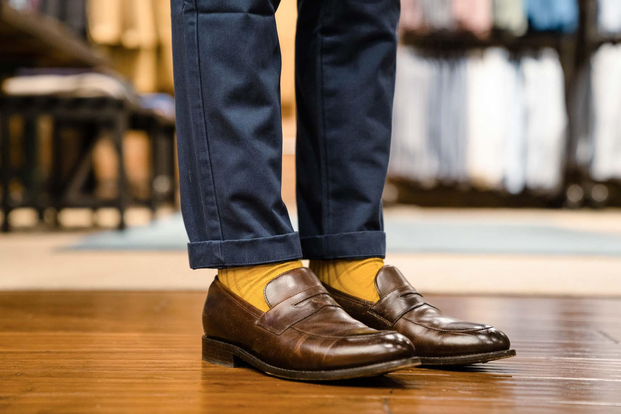 Cuffed chinos with loafers