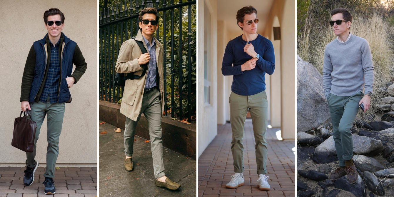 Olive chinos outfit examples