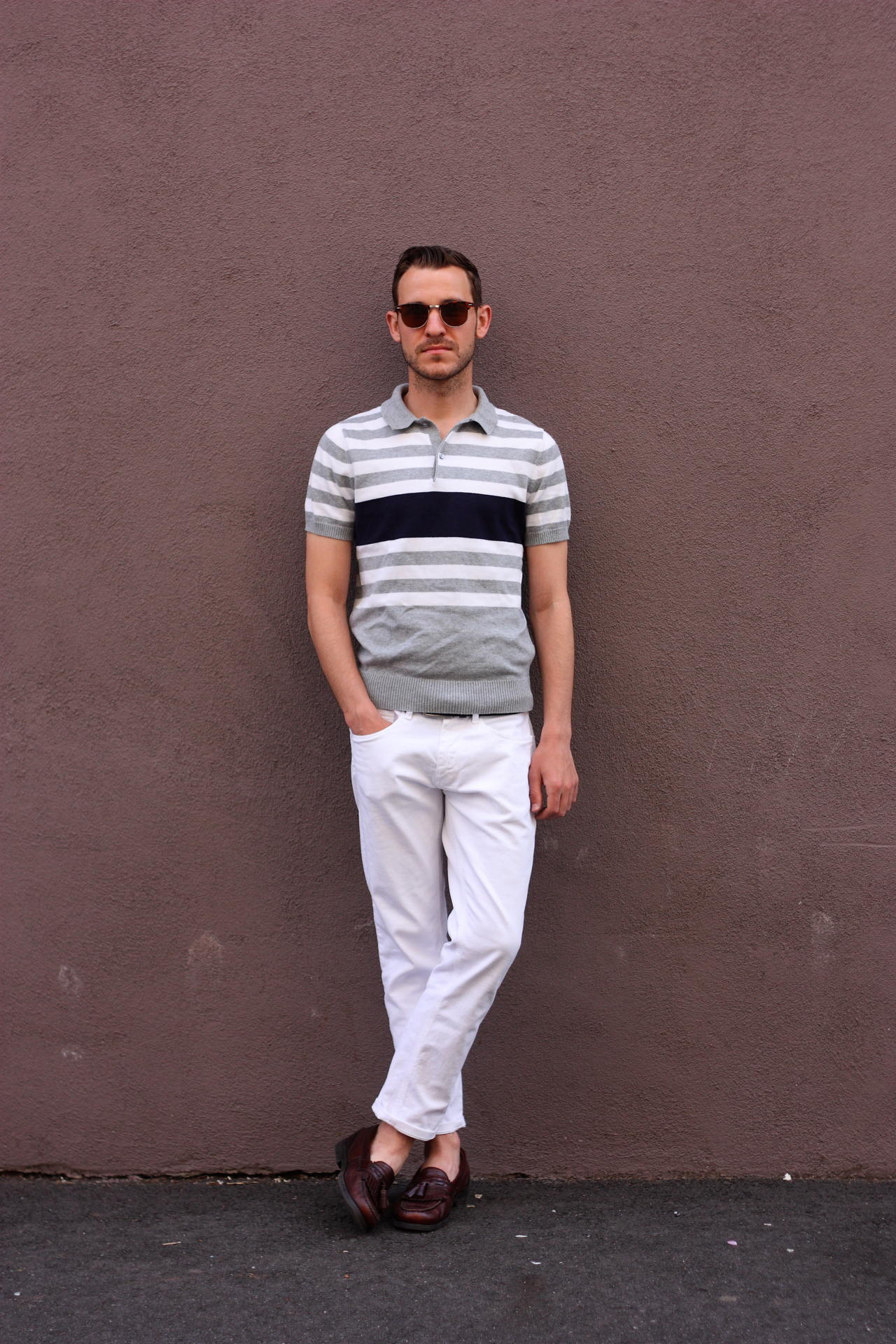 man wearing white chinos