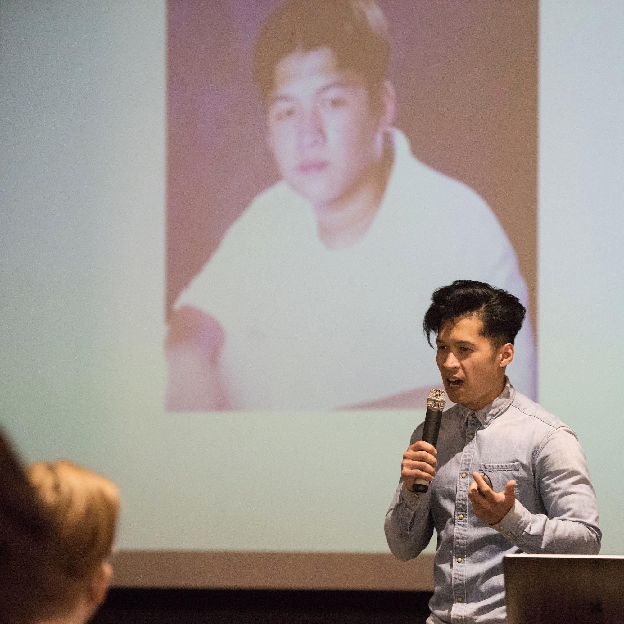 Myke speaking at PodSummit