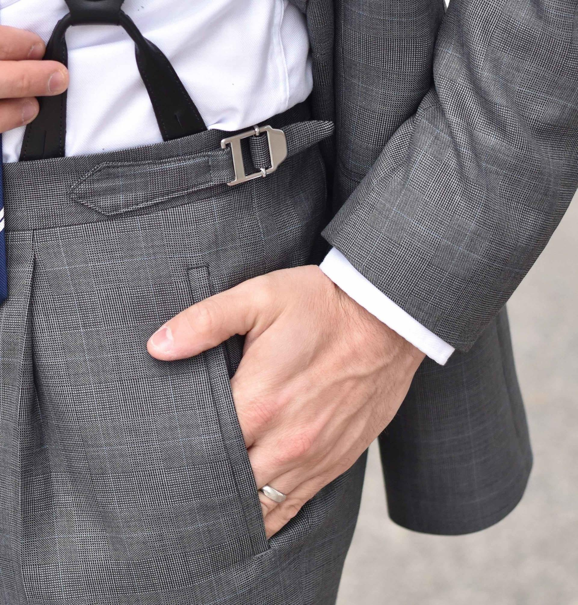 Prince of Wales grey suit fabric