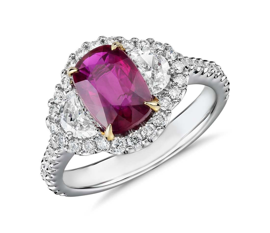 Three-Stone Cushion Cut Ruby & Half-Moon Diamond Halo Ring