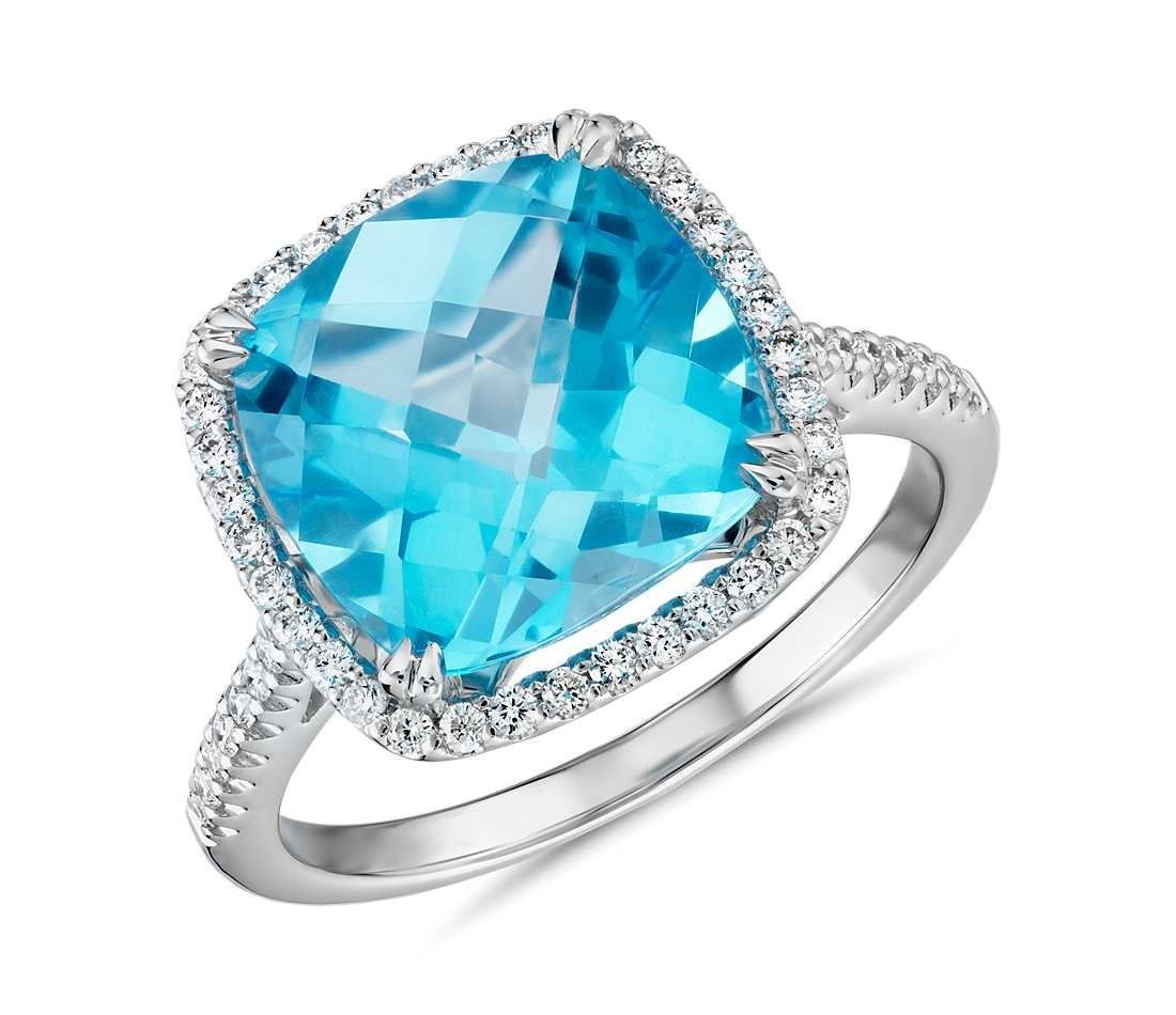 Blue Nile 14K White Gold Cushion Cut Swiss Blue Topaz Diamond Halo ring