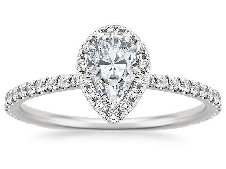 Fancy Pear-Shaped Diamond Halo Ring – Brilliant Earth