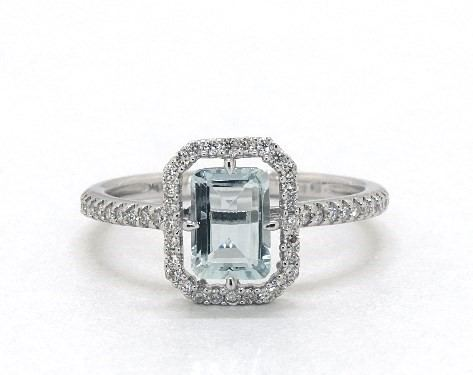 14K white gold aquamarine & diamond floating halo ring