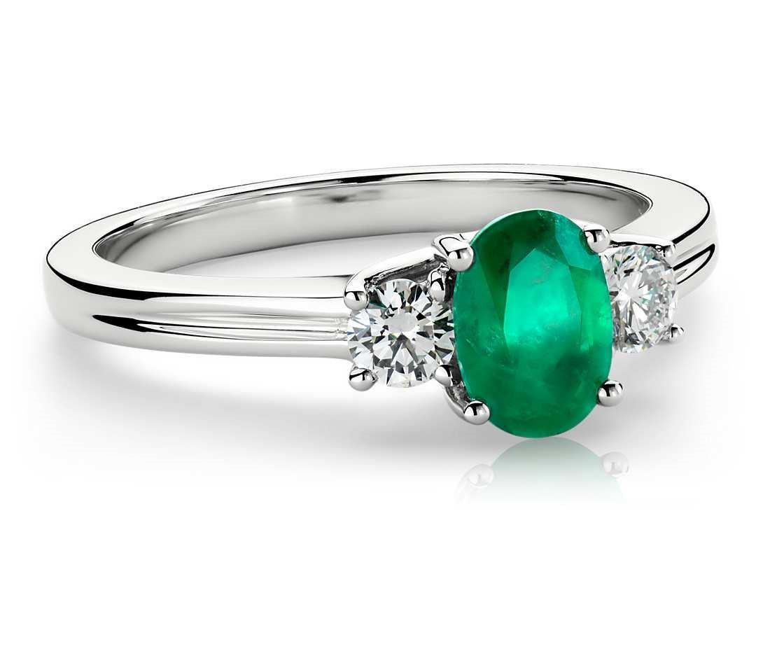 Blue Nile Emerald and Diamond Ring in 18K White Gold