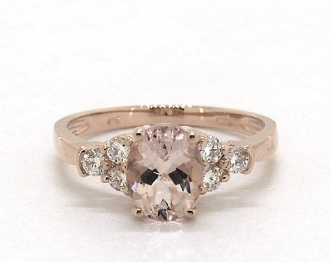 14K rose gold triple round diamond and oval morganite ring