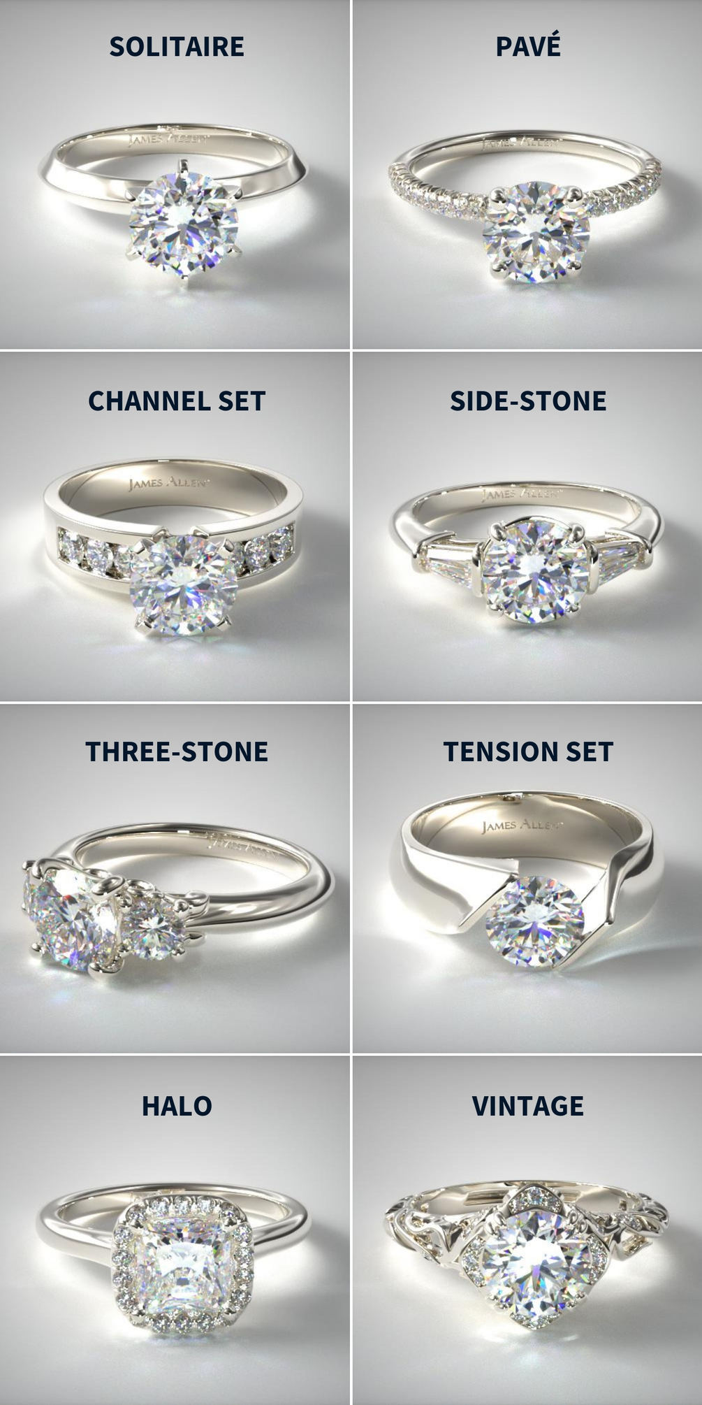 Engagement ring setting styles