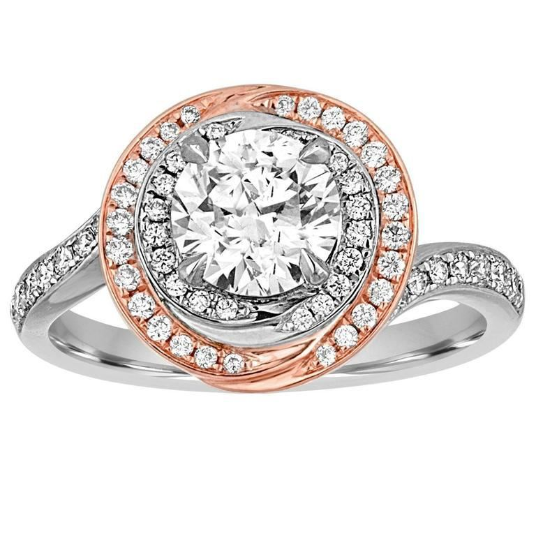 18k White and Rose Gold Halo Diamond Engagement Ring