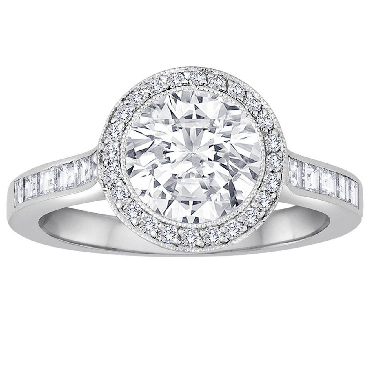 1.67 ct Tiffancy halo diamond engagement ring