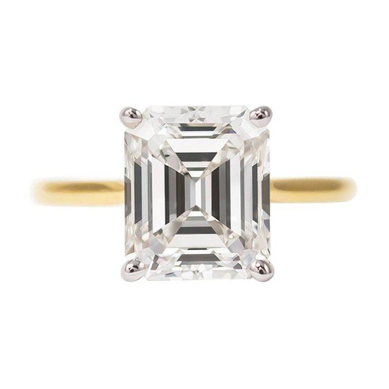 3.10 carat emerald cut diamond solitaire engagement ring