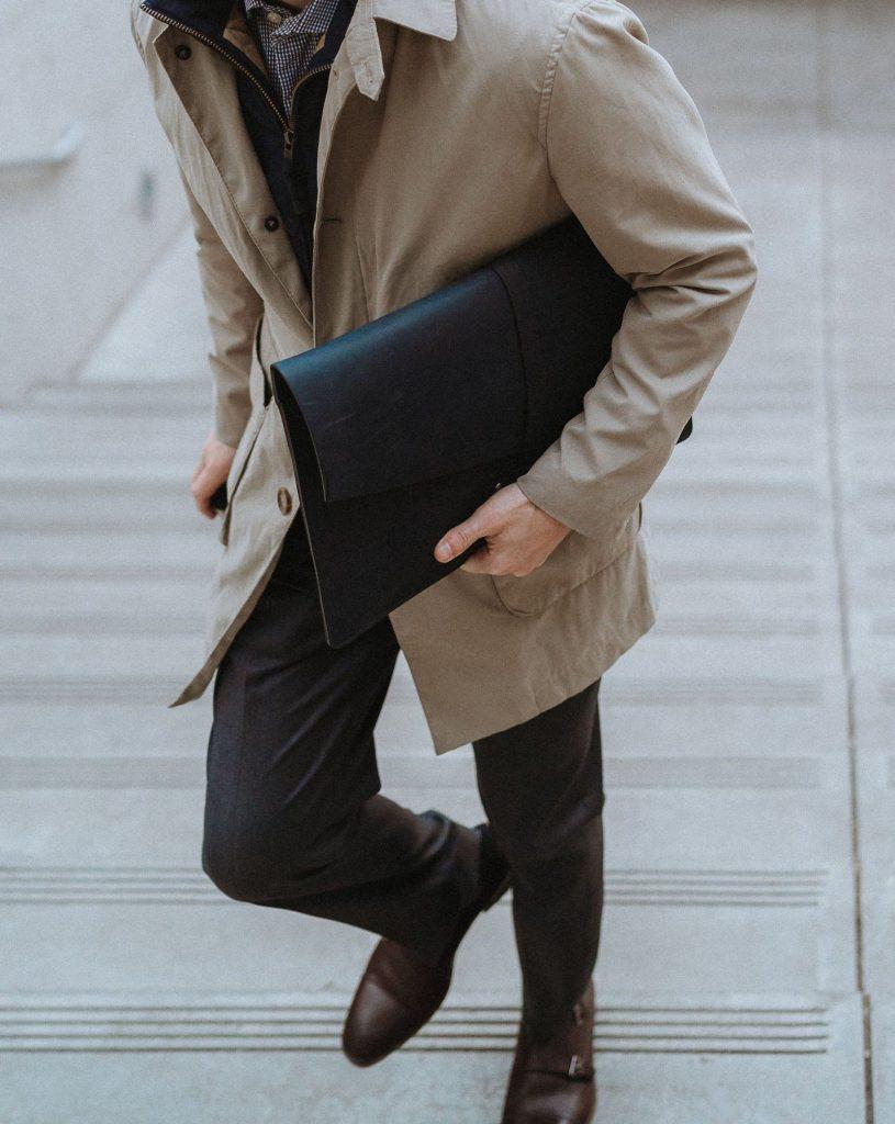 Leather portfolio laptop sleeve