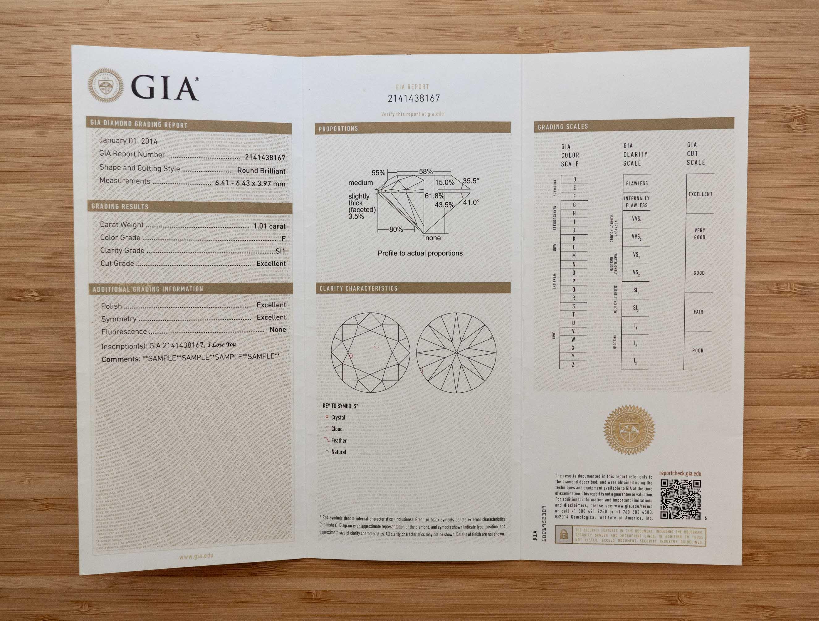 Sample GIA grading report