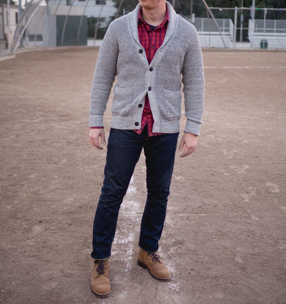 Chunky shawl neck cardigan