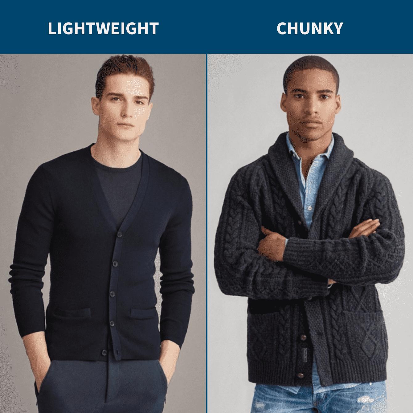 Lightweight vs chunky cardigan