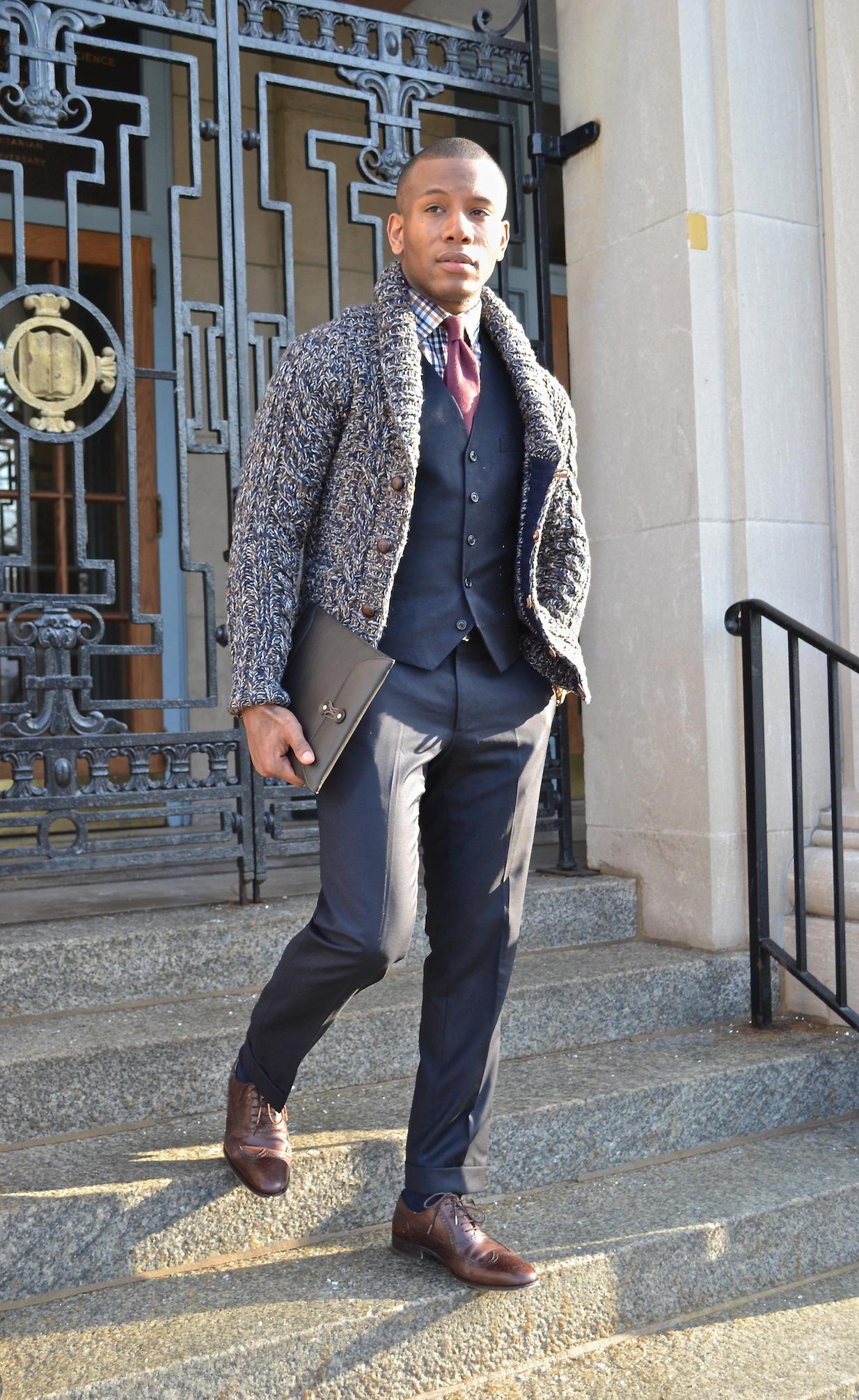 Shawl cardigan over suit