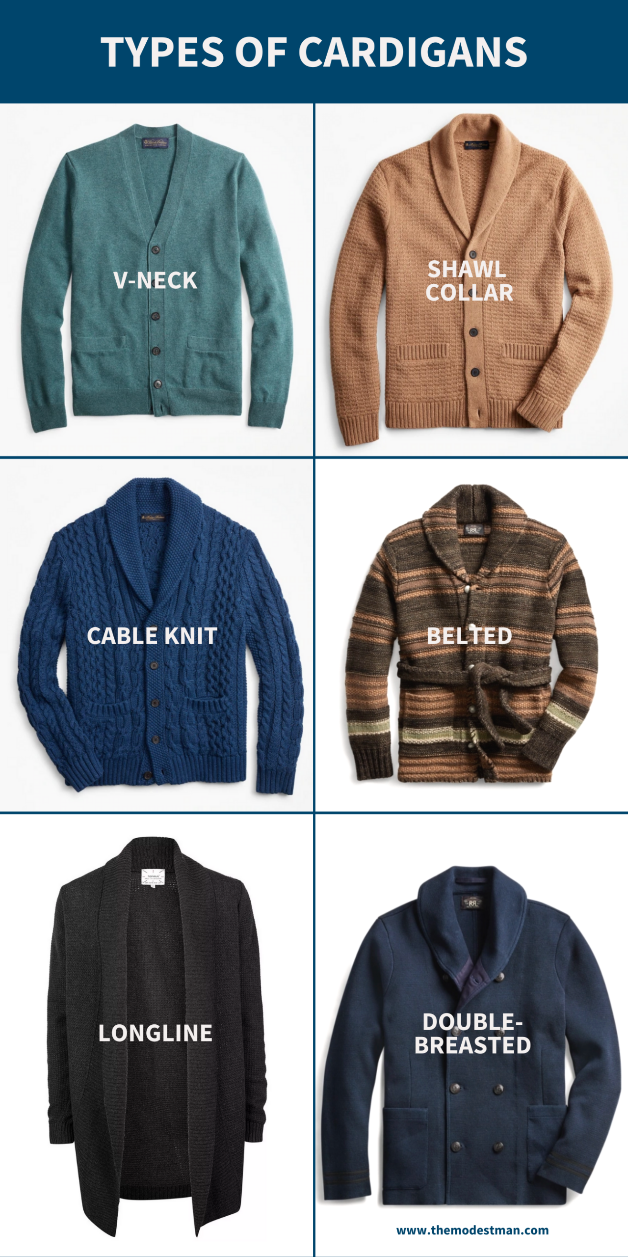 Types of cardigans