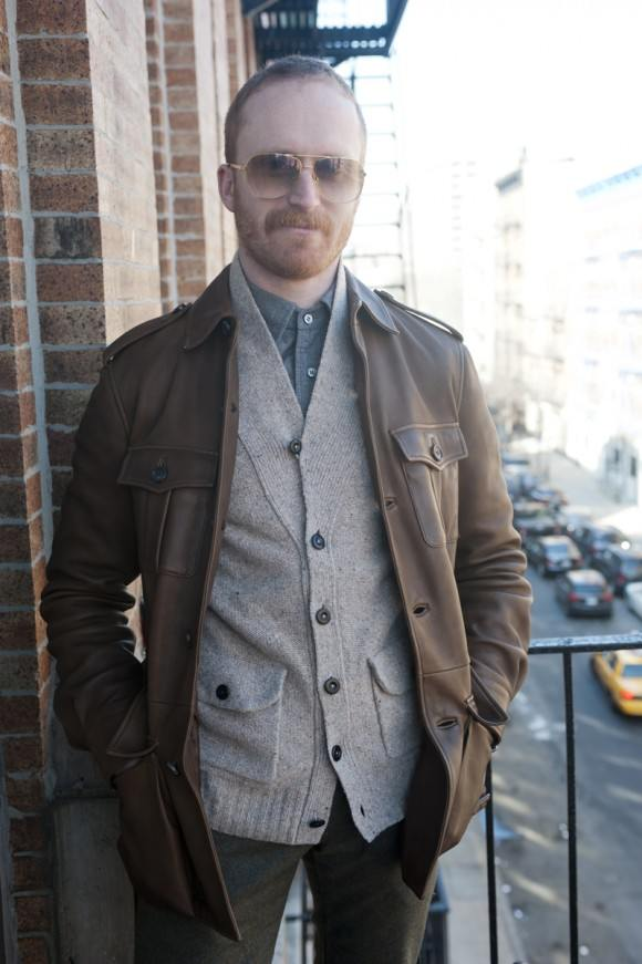 Button down, cardigan and leather jacket