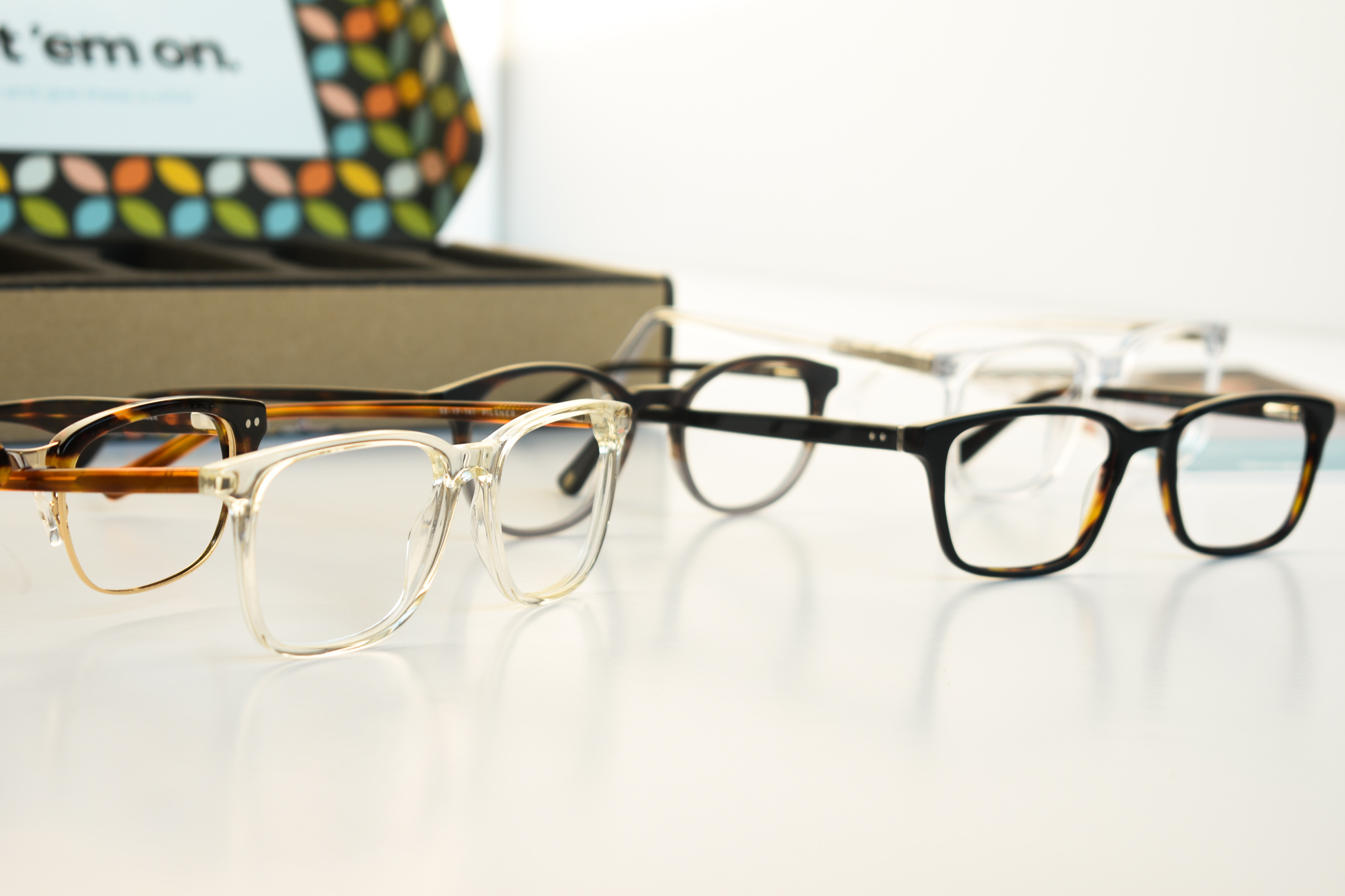 Liingo glasses on white background
