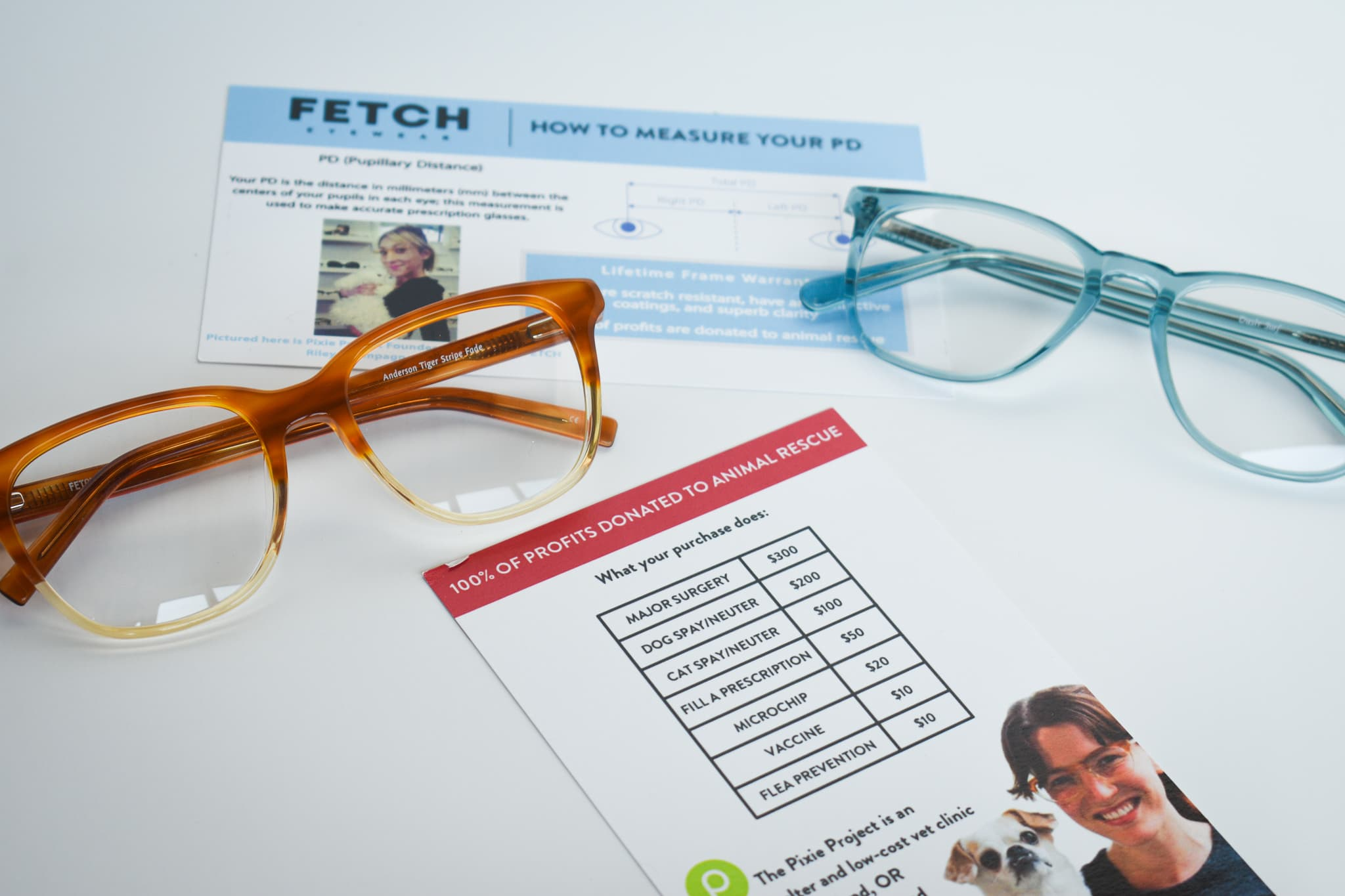 Fetch orange and light blue frames