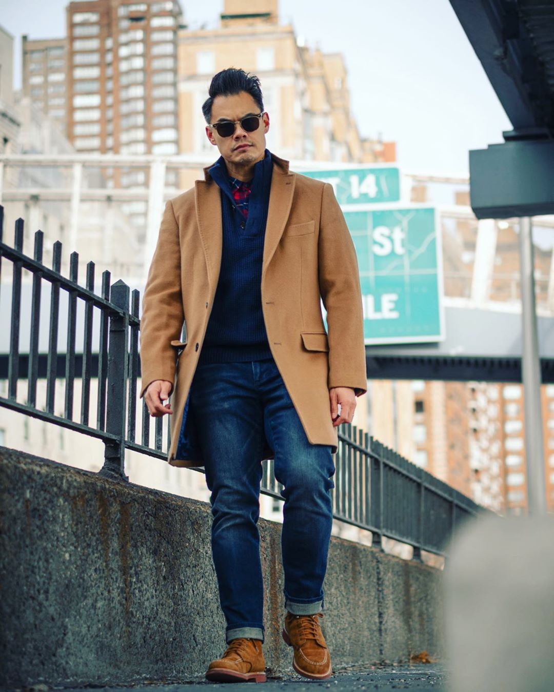 jeans with brown coat