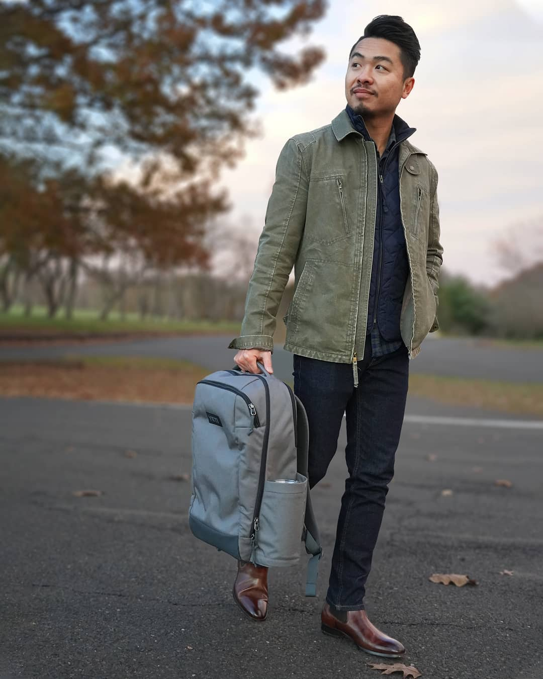 jeans with olive jacket