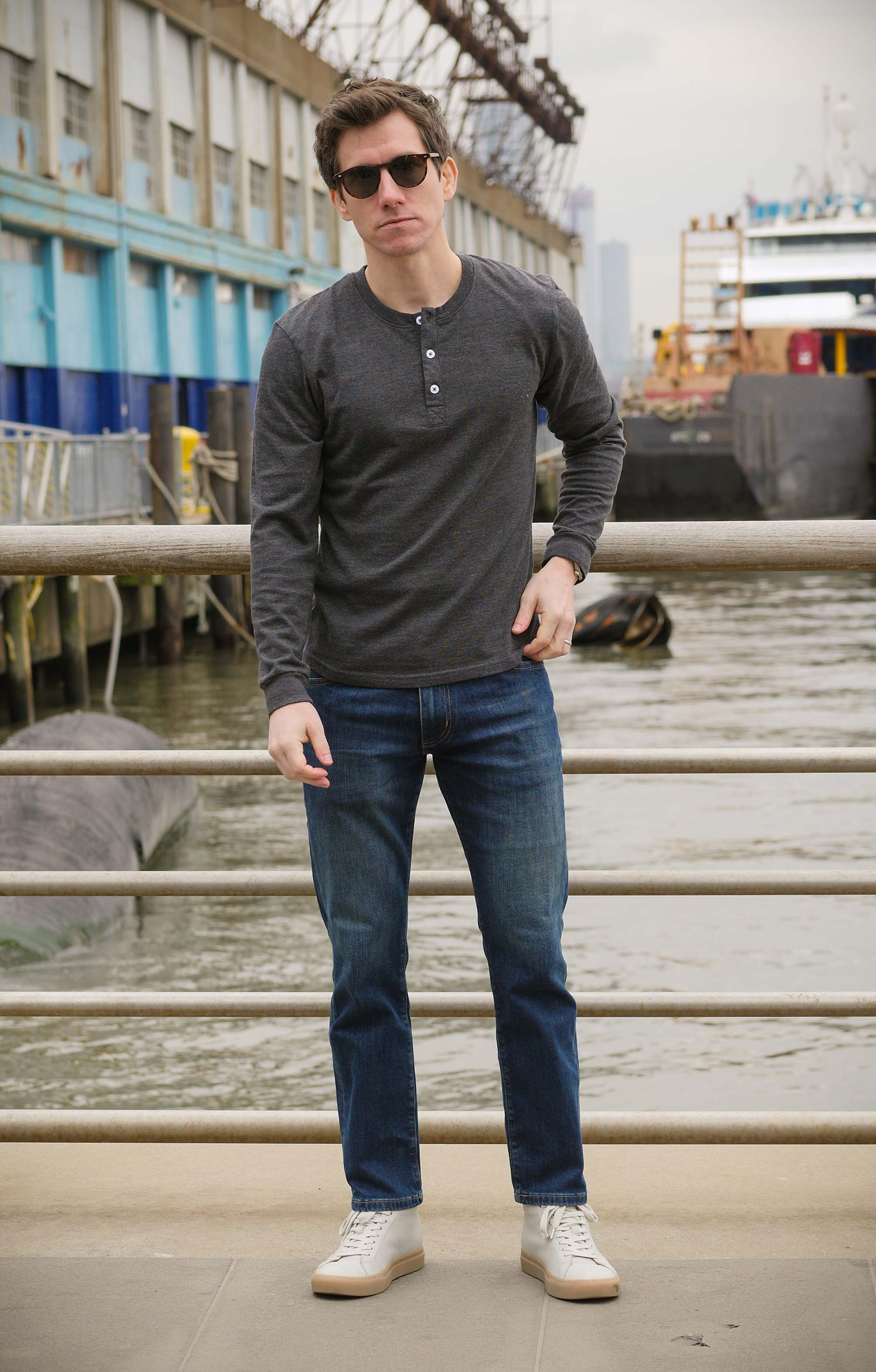 Ash and Erie henley shirt and jeans
