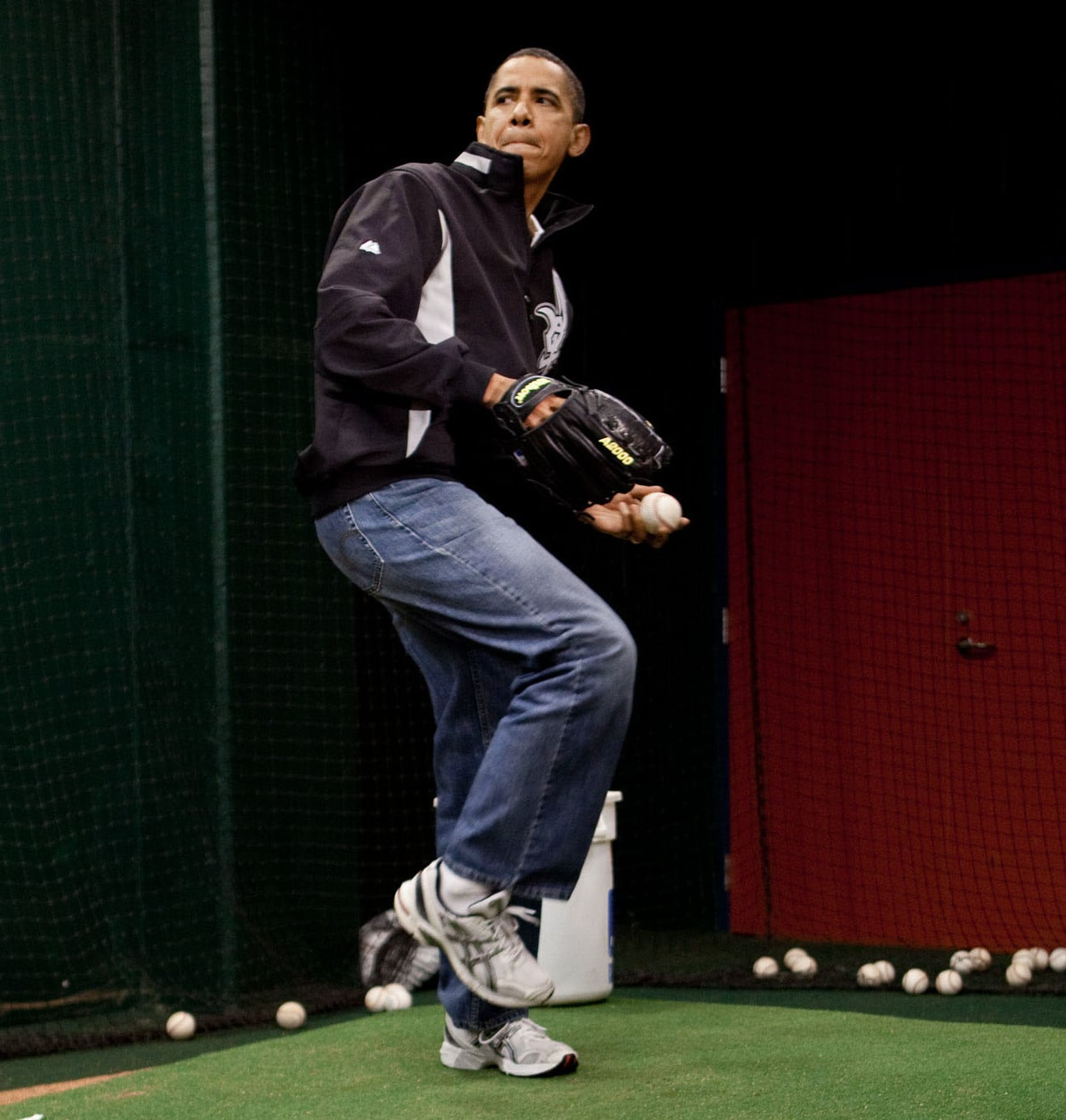 Barack Obama in jeans and sneakers