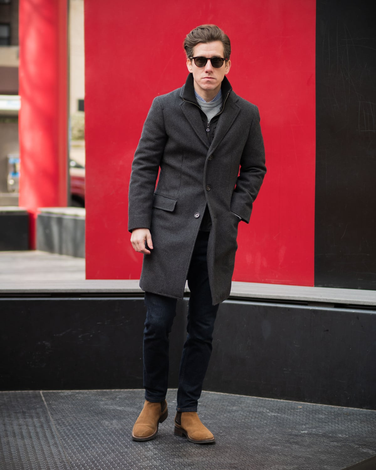 Charcoal Topcoat Jeans Chelsea Boots