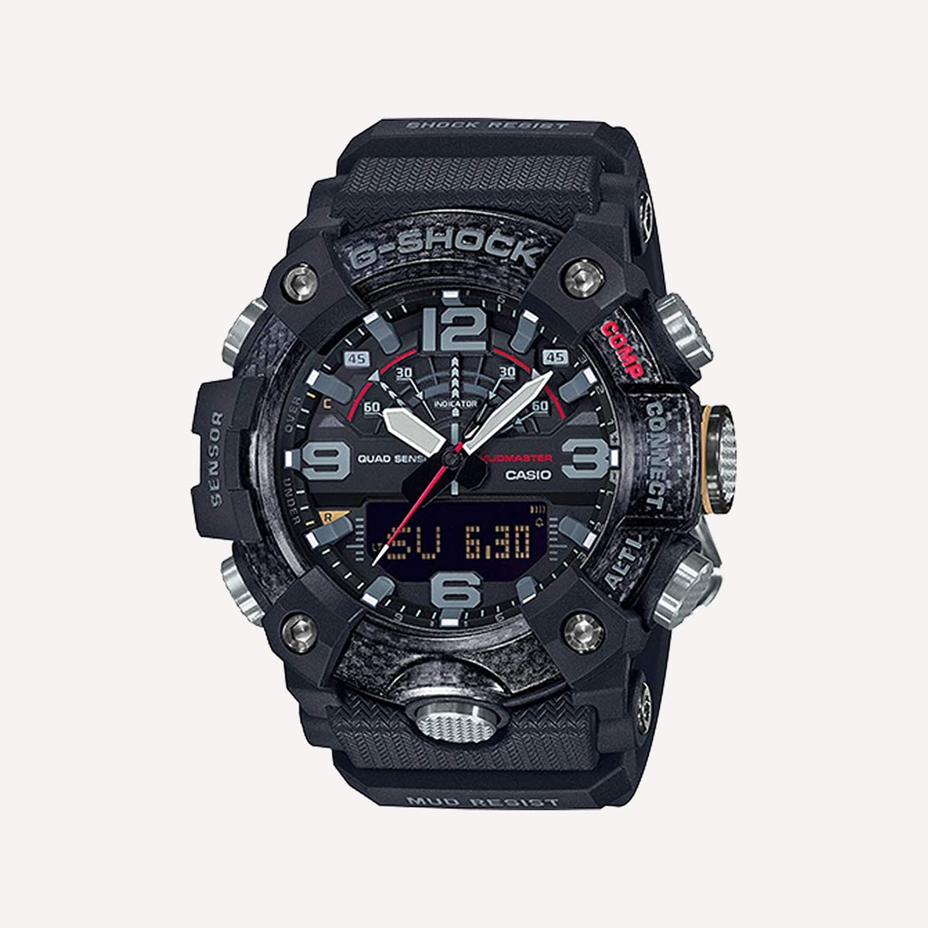 Men s Casio G Shock Master of G Mudmaster Carbon Core Guard Quad Sensor Connected Grey Resin Watch GGB100 1A