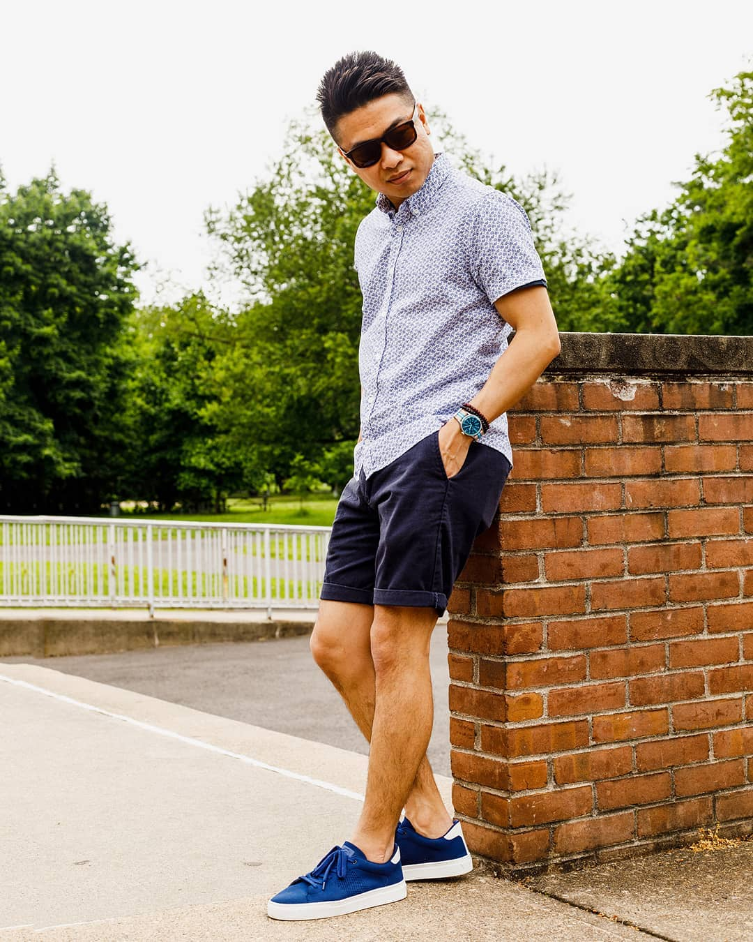 chino shorts with a short sleeve button up