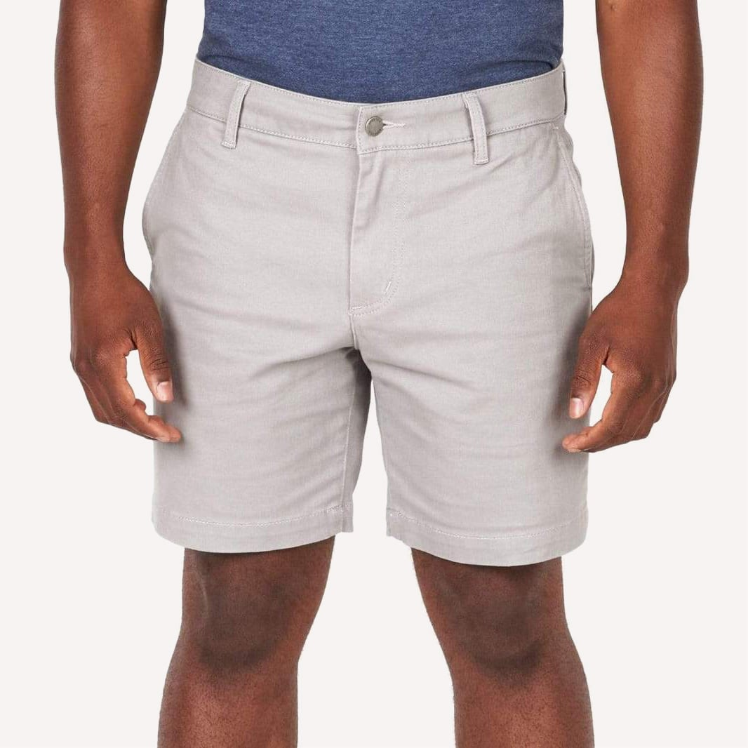 ASH AND ERIE SMOKE GREY LIGHTWEIGHT STRETCH CHINO SHORTS