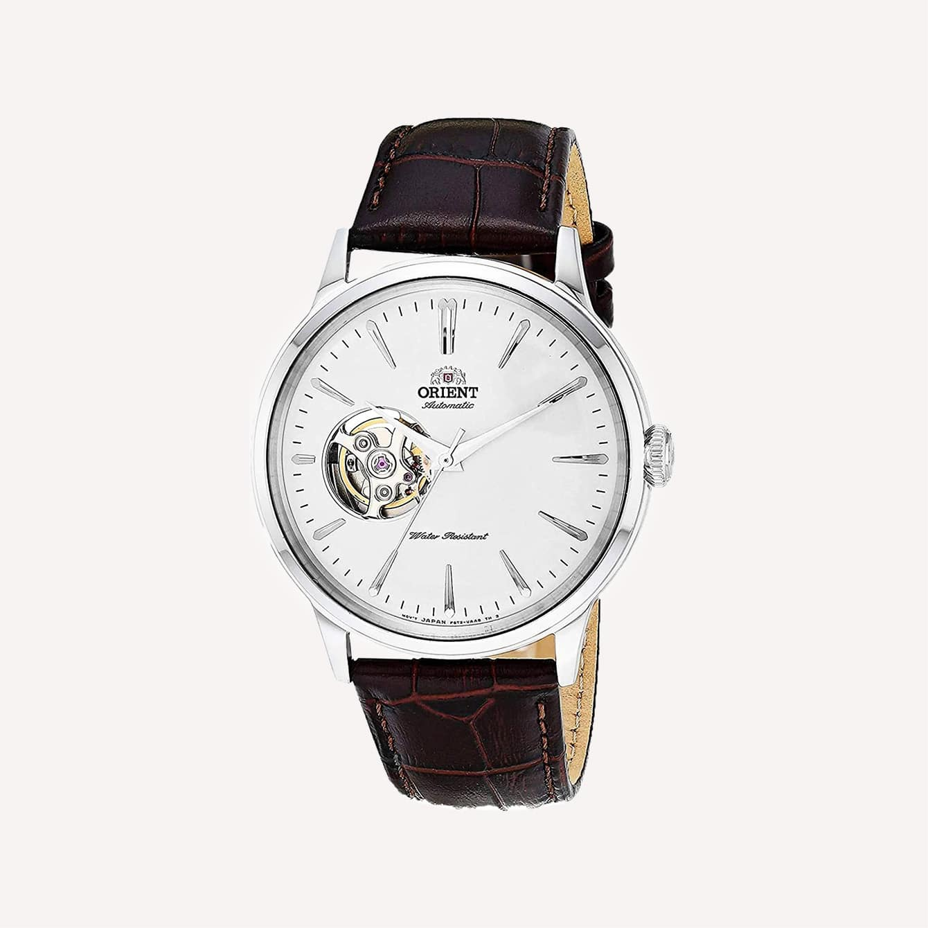 Orient Bambino Open Heart Japanese Automatic Stainless Steel and Leather Dress Watch