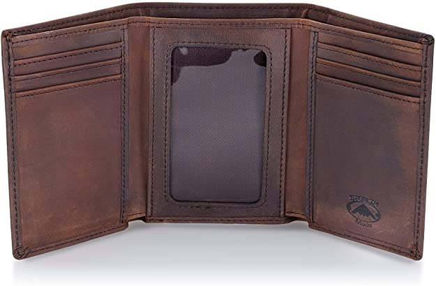 Stealth Mode Trifold Leather Wallet with RFID Blocking