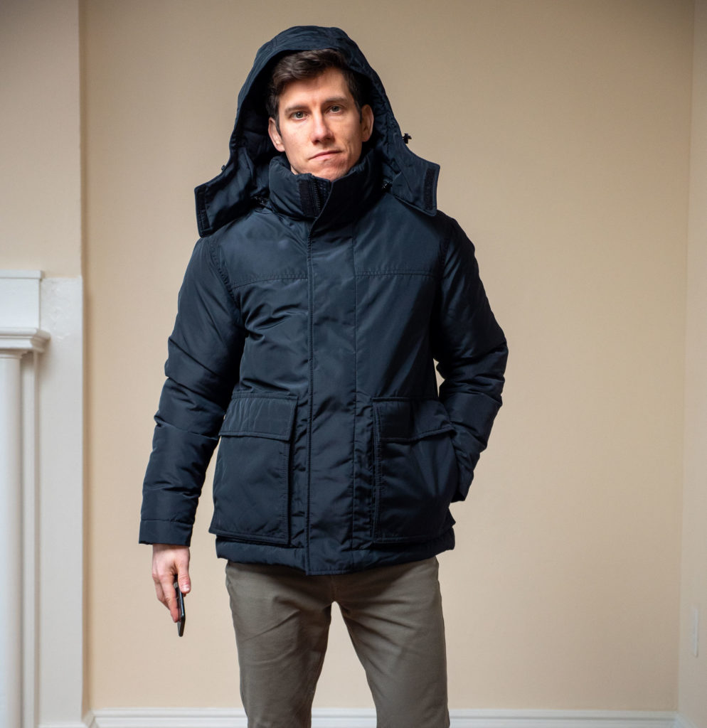 Ash and Erie Winter Parka hood up