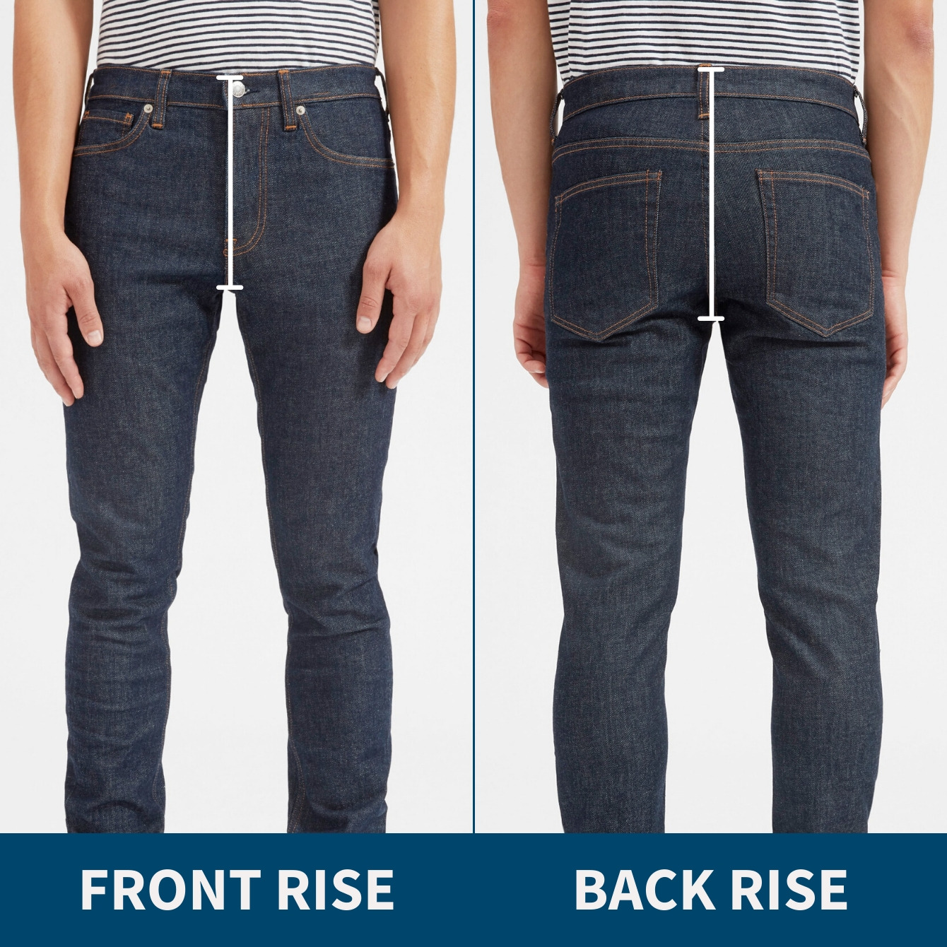 Pants rise front and back