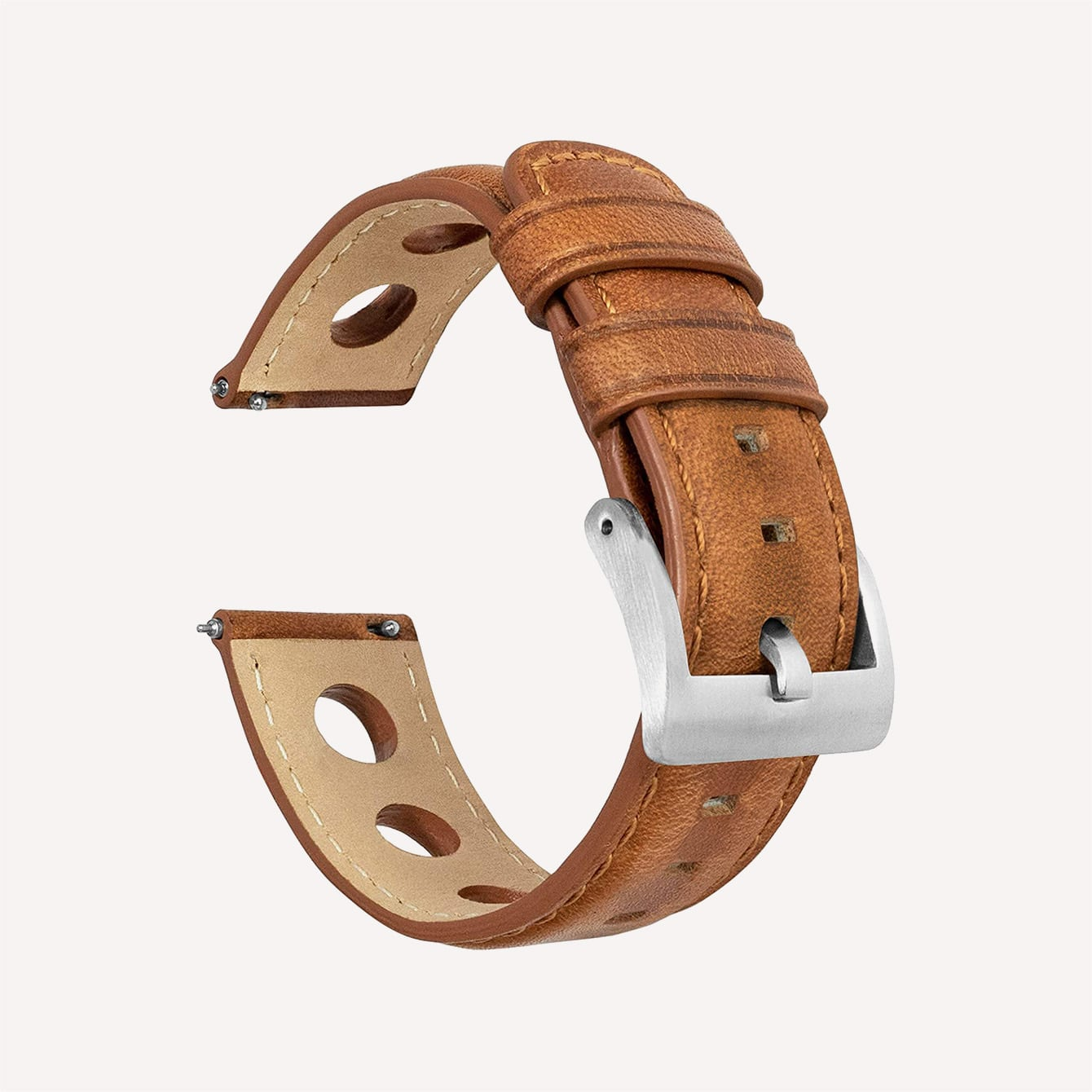 Barton Rally Horween Leather Straps Integrated Quick Release Spring Bars 316L Stainless Steel