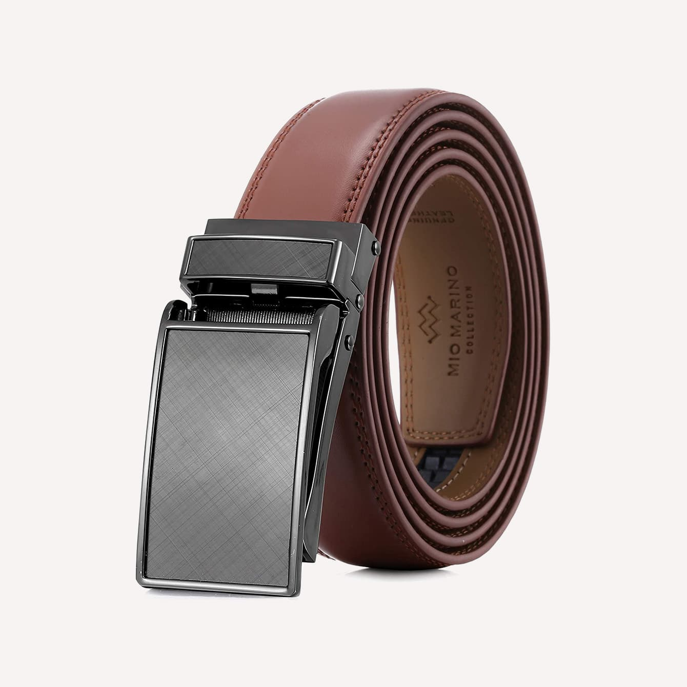 Marino Avenue Mens Genuine Leather Ratchet Dress Belt with Linxx Buckle