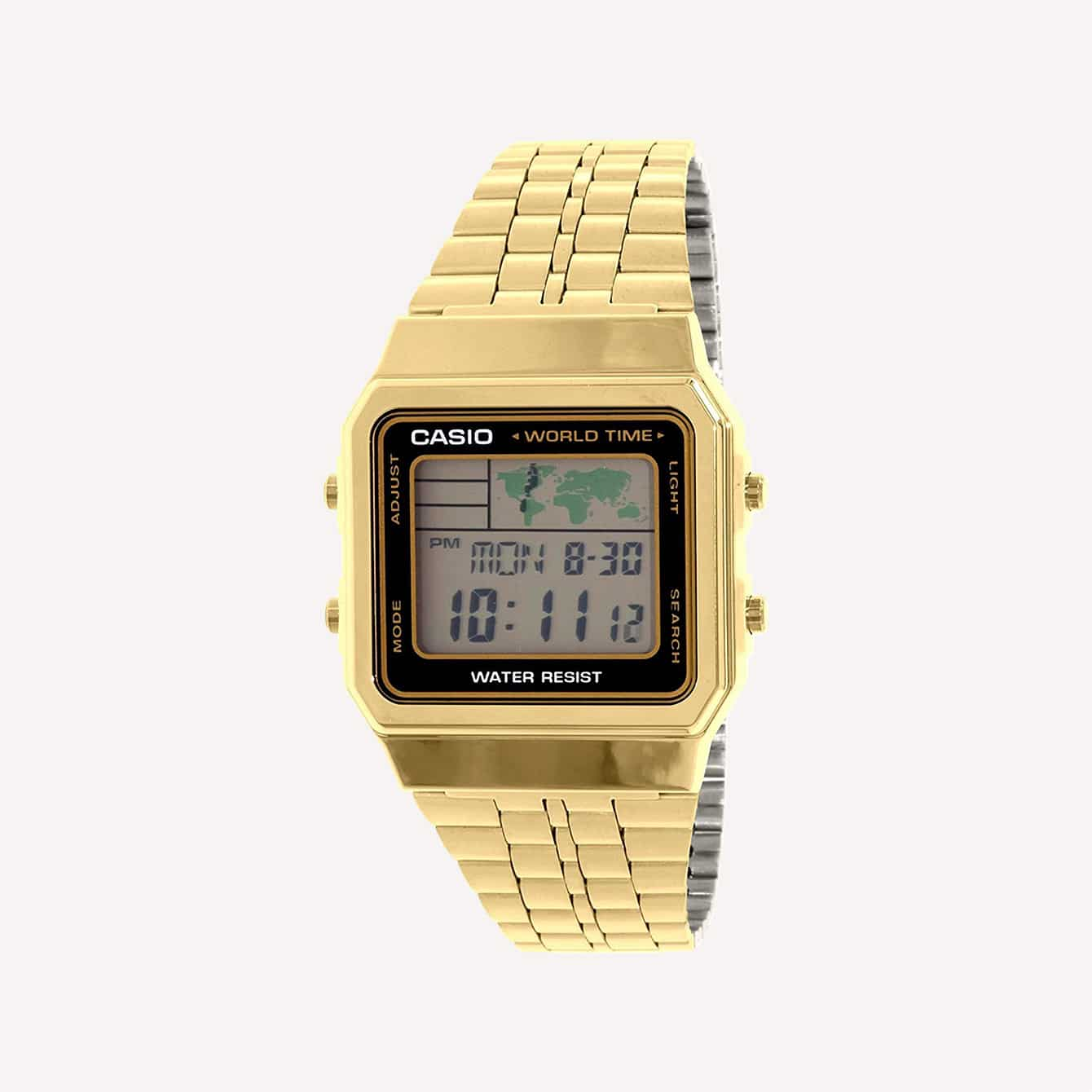 Men s Gold Tone Casio World Time Stainless Steel Watch A5000WGA 1