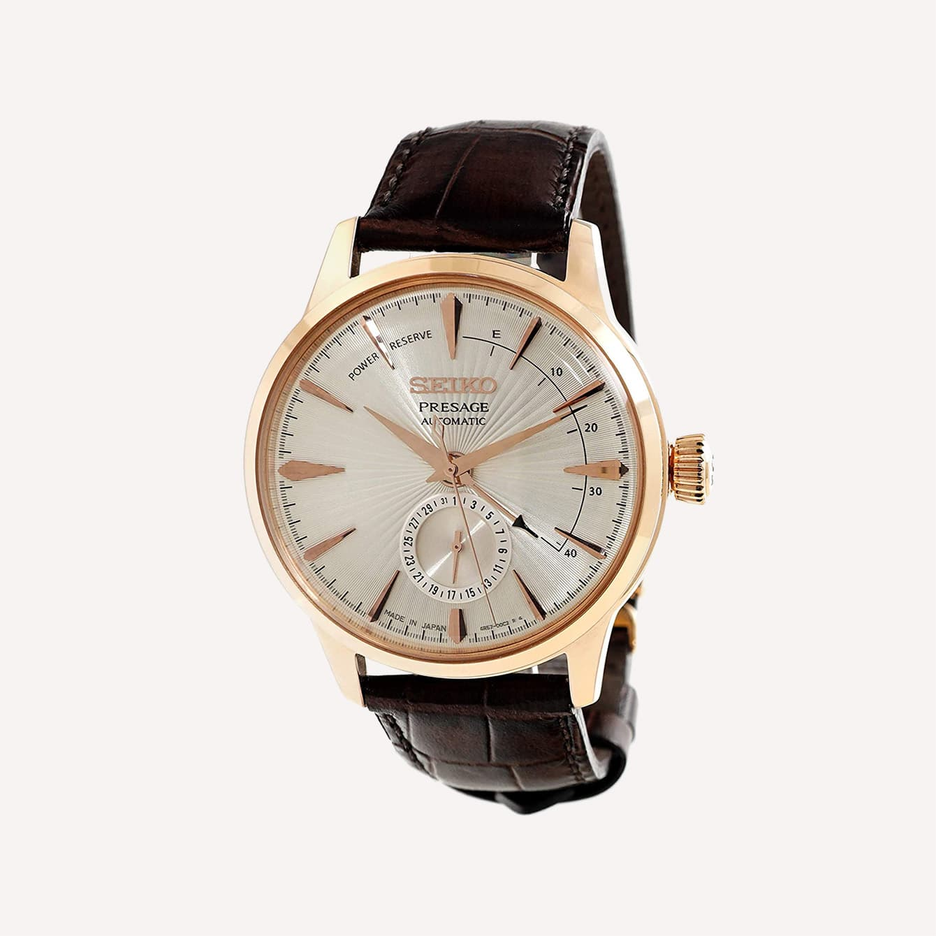 SEIKO SSA346J1 PRESAGE COCKTAIL SIDECAR ROSE GOLD LEATHER WATCH