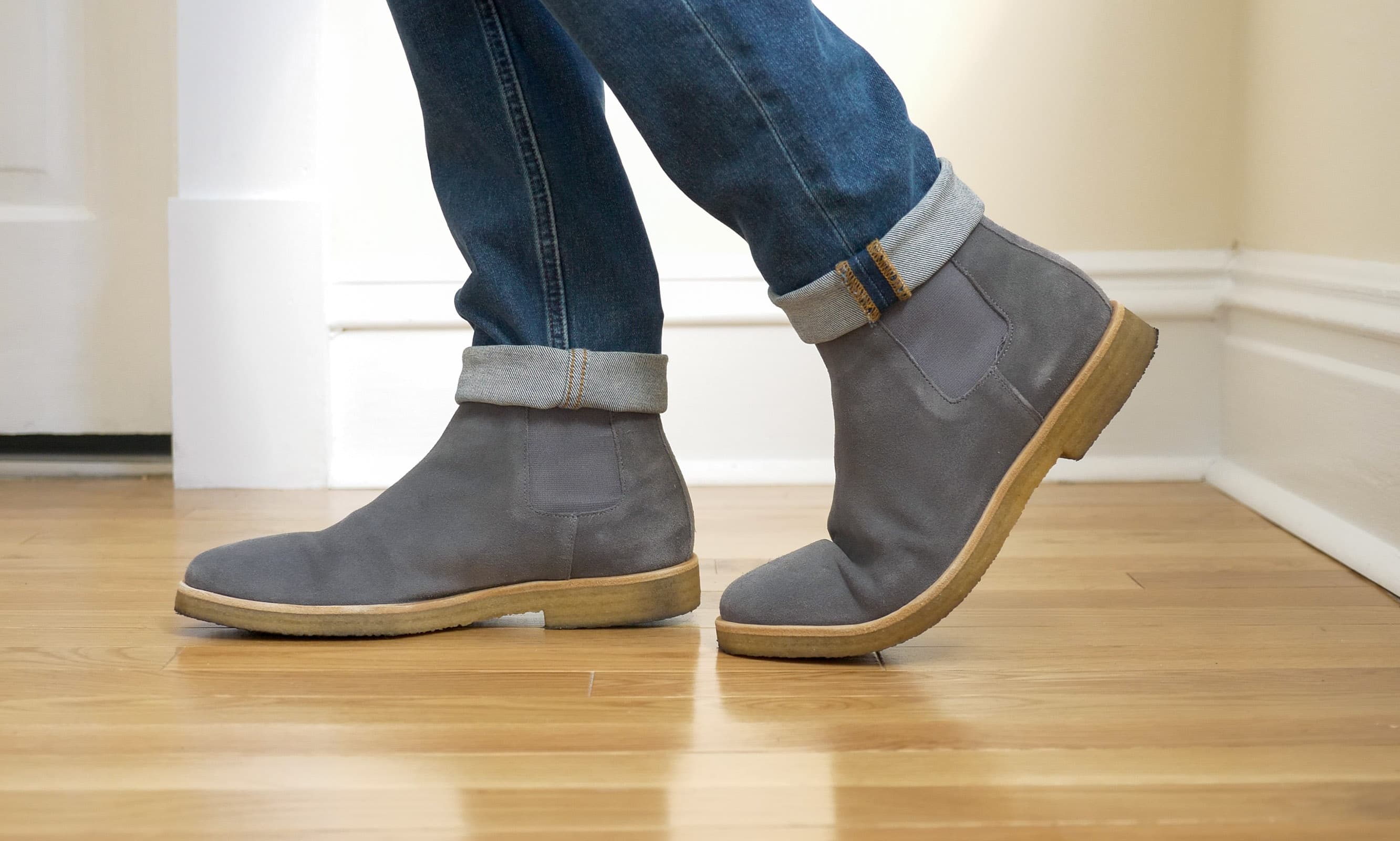 Oliver Cabell Chelsea Boots on feet 2
