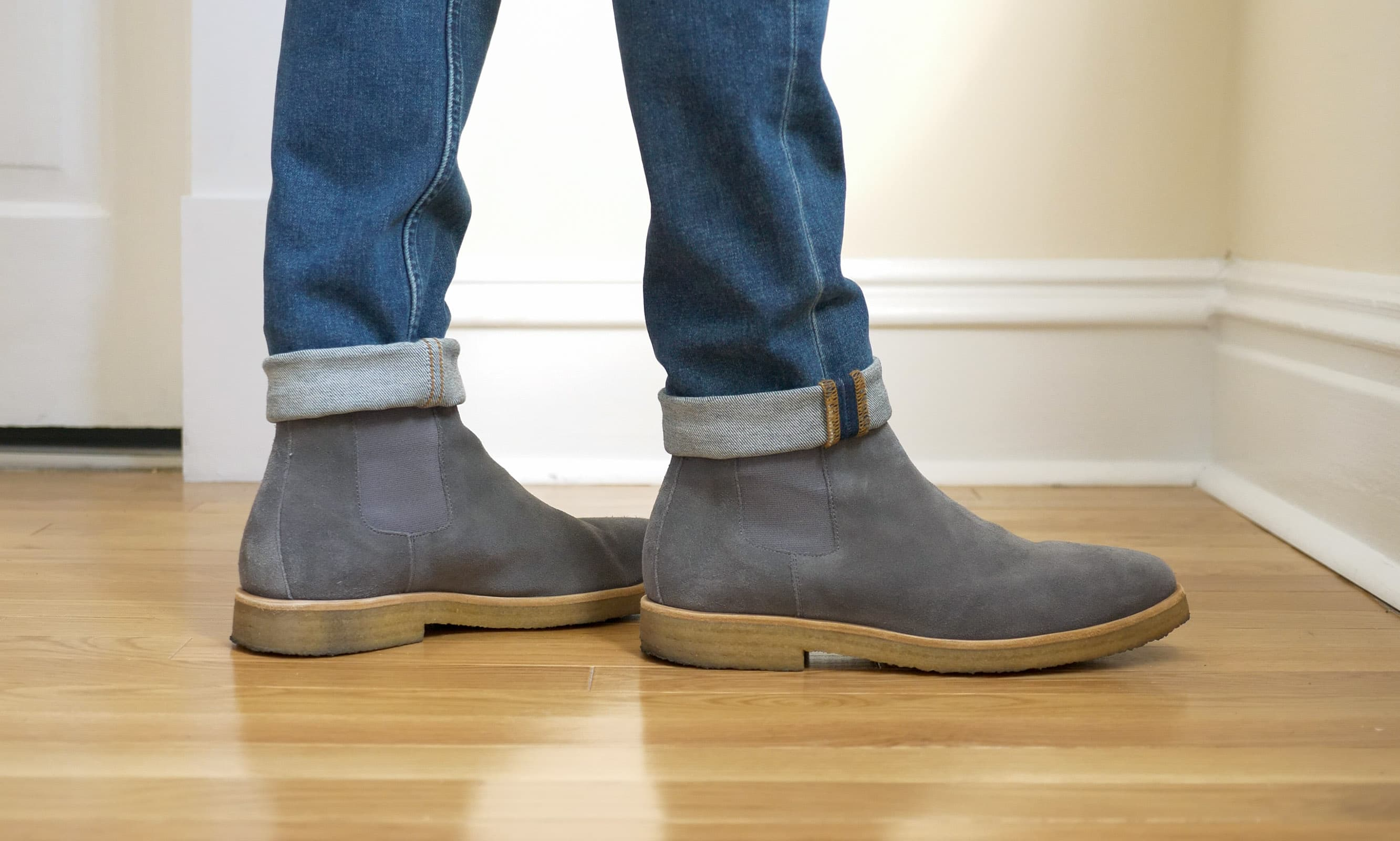 Oliver Cabell Chelsea Boots on feet